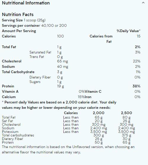 tabla nutricional my protein impact